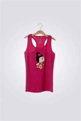 Camiseta de mujer de tirantas ArriquiCurra color fucsia.