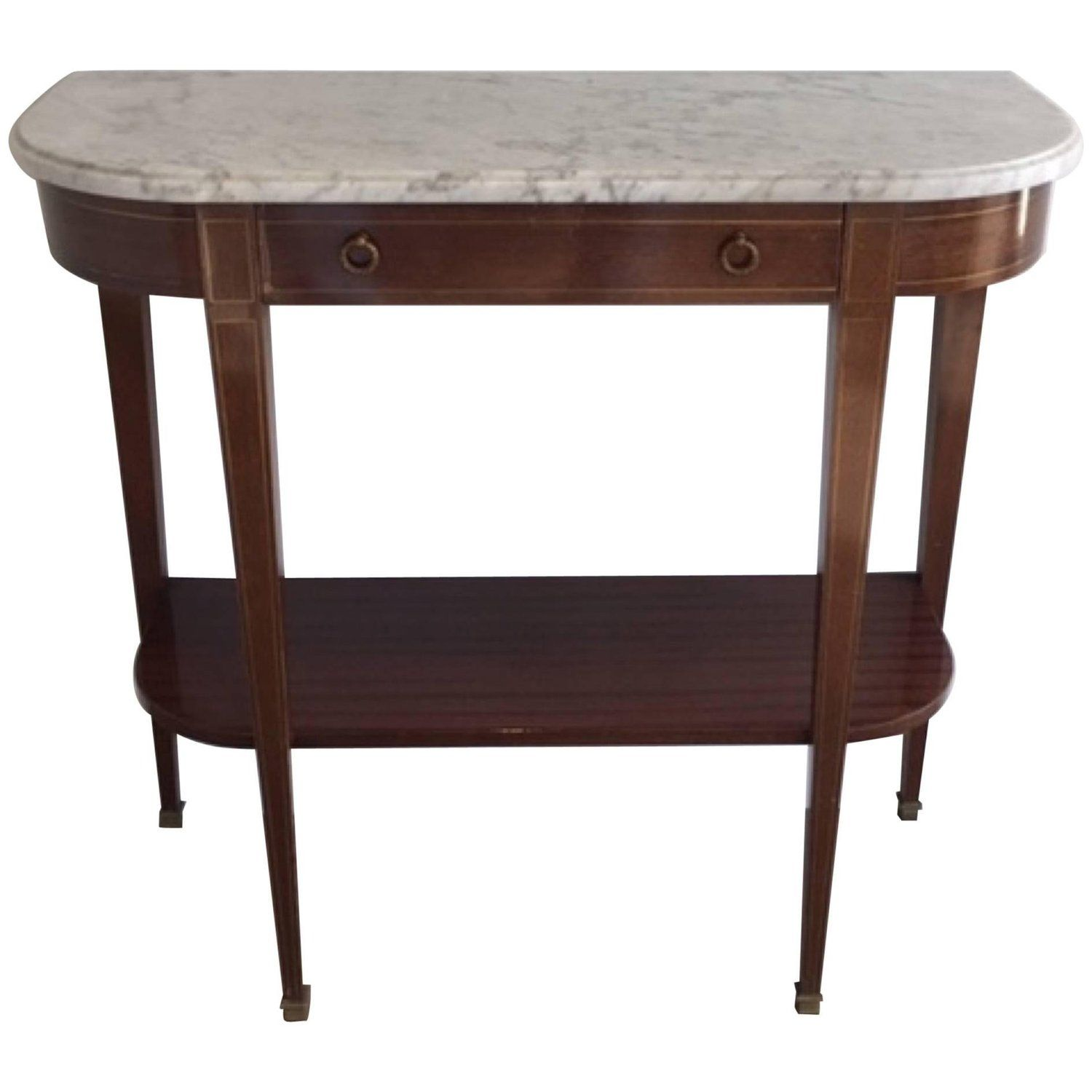 Mahogany Brass Neoclassical Console Table With White Marble Top