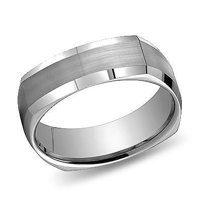 Mens 14k White Gold Wedding Band Men Squared Rings 6mm Mens Gold Wedding Band Cool Wedding Rings Square Wedding Rings