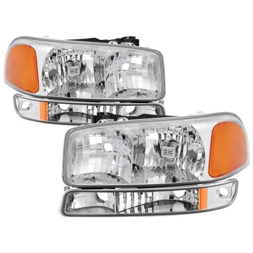 1996 2006 Gmc Sierra 1500 2500 3500 Hd 2000 2006 Yukon Xl Replacement Crystal Headlamps Headlights W Bumper Lamps Lights Gmc Sierra Gmc Sierra 1500 Headlights
