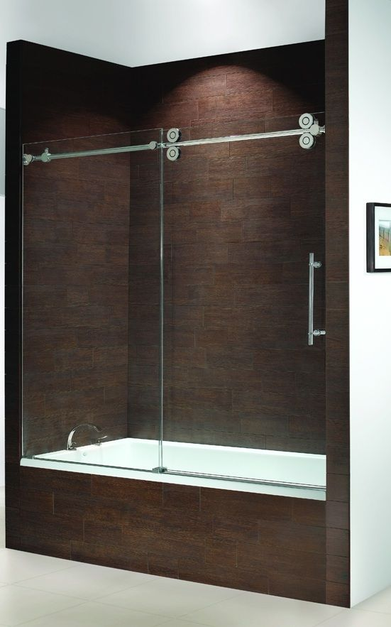 frameless bathtub doors | kinetik frameless sliding tub enclosure ...