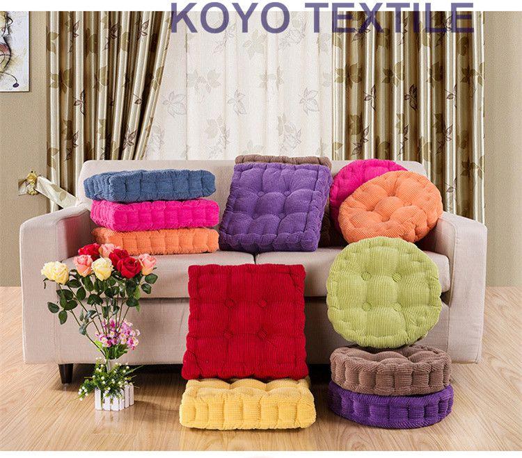 Pintuck Corduroy Square Round Shape Plaid Chair Pad Cushion Thicker Soft  Washable Cotton Colorful Home Decor