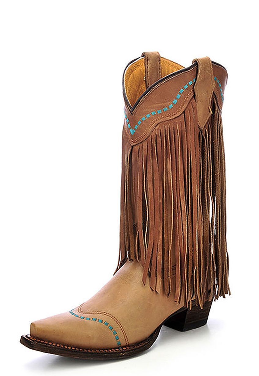Youth Cowhide Snip Toe Boot with Embroidery - A3152, Taupe