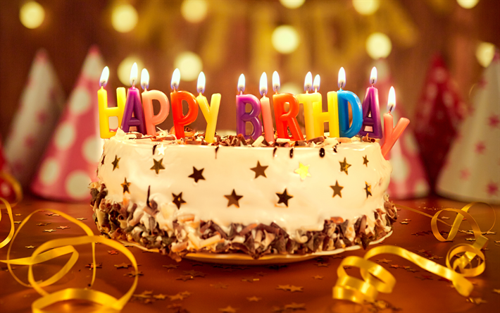 Download Wallpapers Happy Birthday 4k Birthday Cake Candles