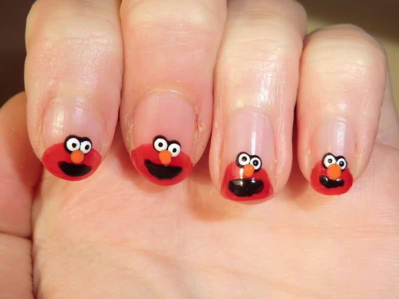 FUN! cartoon elmo nail designs #nailschicFAO | Nailschic by Elmie ...