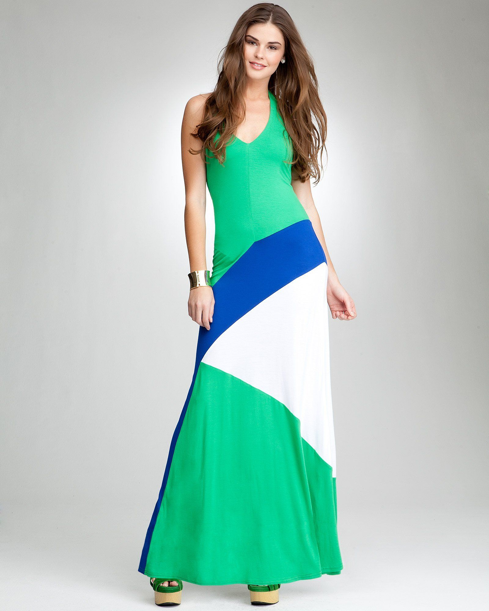 1. a cute casual look for your flight bebe Colorblock Halter Maxi Dress #bebe #wishesanddreams