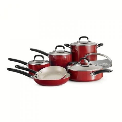 Cookware Sets On Sale Tramontina Set 11 Piece Ceramic Pots Pans With Lids Red Ceramic Cookware Ceramic Cookware Set Cookware Set