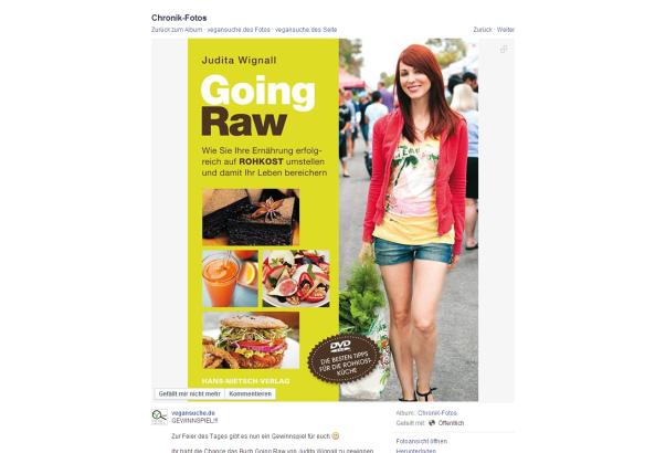 """Gewinnt das Kochbuch """"Going Raw""""! Auf der facebook-Seite von vegansuche.de könnt ihr nur noch heute, am 29. Juni 2014 bis 19 Uhr, das Kochbuch """"Going Raw""""..."""