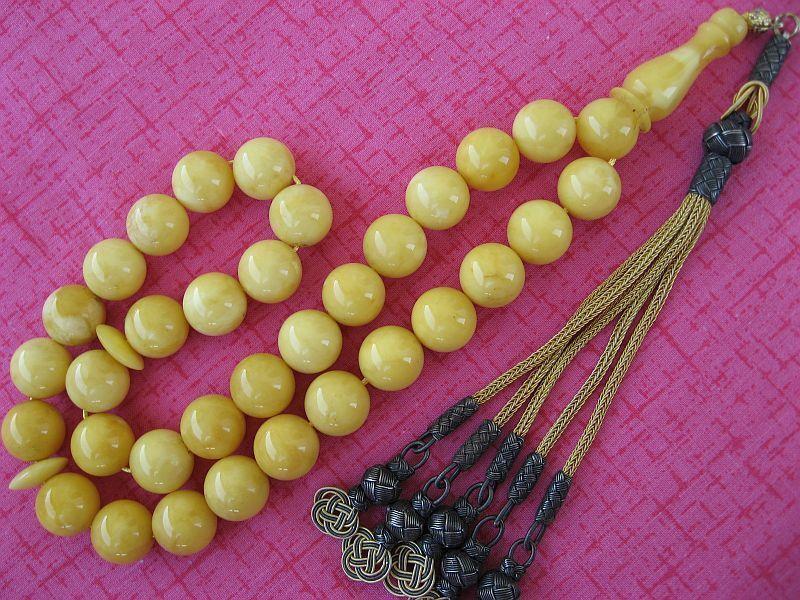 High Quality Genuine White Baltic Amber Islam Rosary Prayer Worry Beads Misbaha   eBay