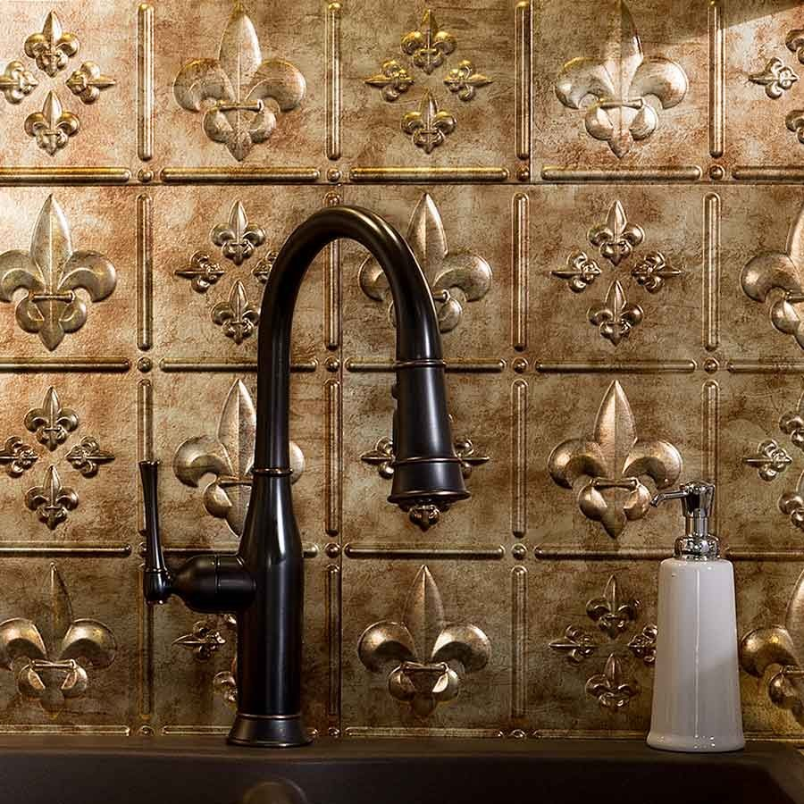 Perfect Picture Of Fasade Backsplash   Fleur De Lis In Bermuda Bronze