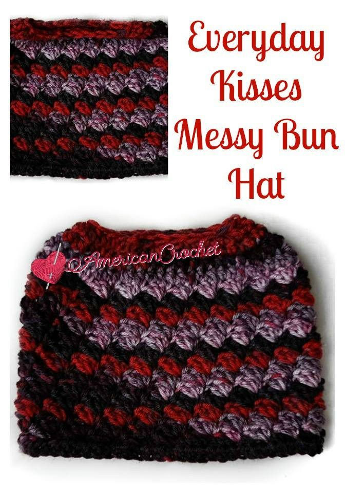Everyday Kisses Messy Bun Hat: Free Pattern | Hats | Pinterest