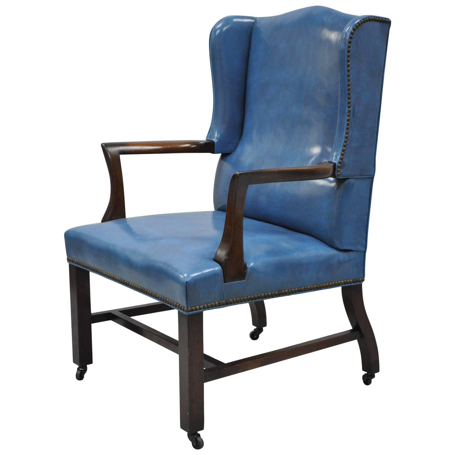 Mid 20th Century Blue Leather fice Desk Chair on Casters After