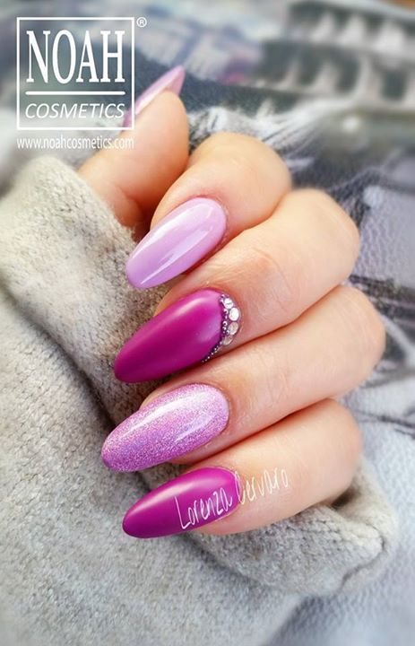 Refill forma mandorla da salone nei colori del viola, effettosirena e  brillantini