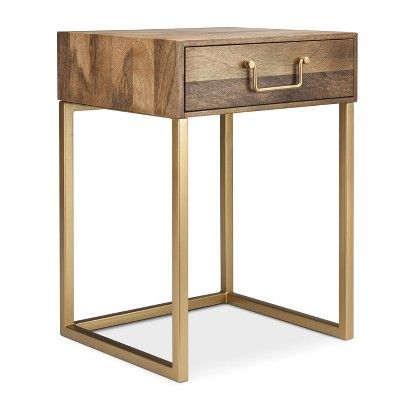 $55.99 Threshold™ Accent Table - Wood and Gold Dimensions: 22.0 ...