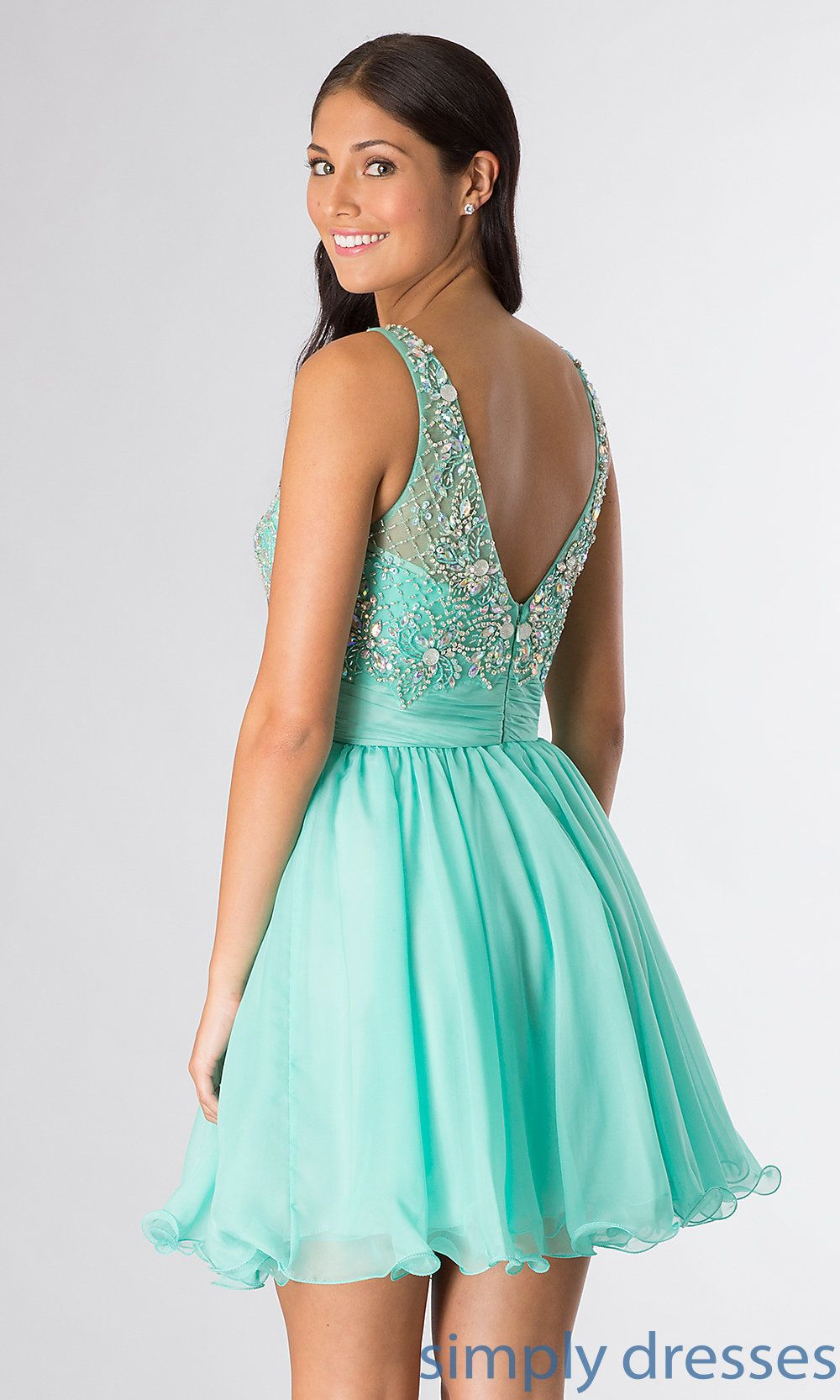 Sleeveless Beaded Short Party Dress | Semi formal dresses ...