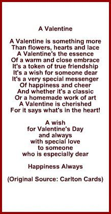 Poem Or Verse For Wife Or Husband For Valentine S Day Cards
