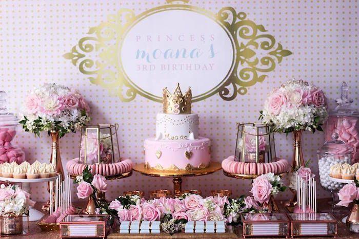 Copper Pink Gold Princess Party Princess Theme Party Party Sweets Princess Party