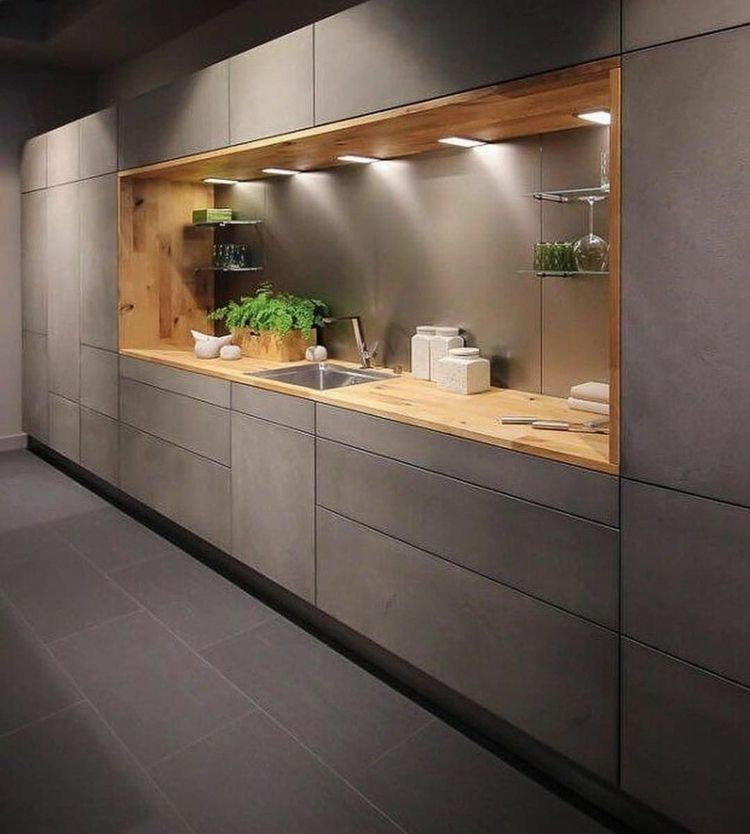 Küche #Betonoptik mit #Holz ist eine schöne Kombination ...