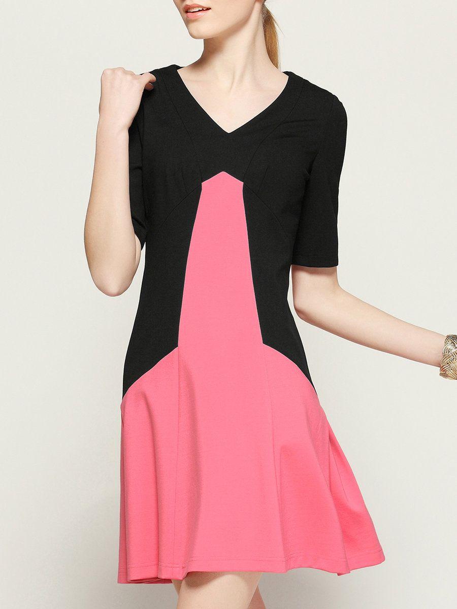 Cerel vogue black aline elegant v neck color block simple mini
