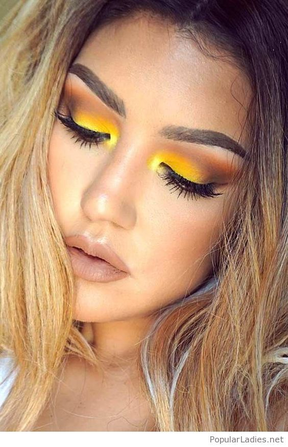 Amazing yellow eye makeup style #makeupeyeshadow