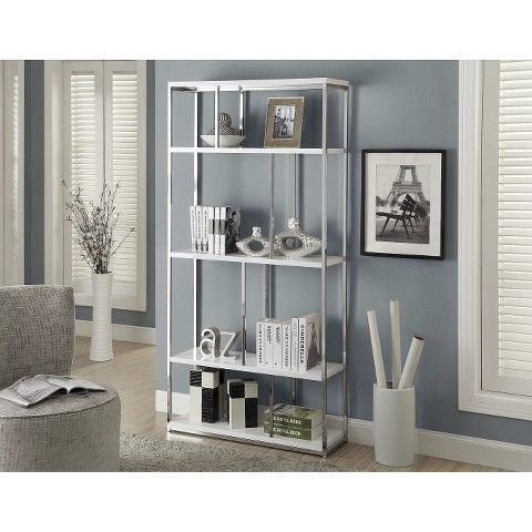Monarch Specialties Modern Chrome Bookcase