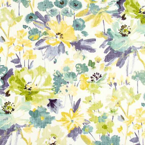 A Modern Abstract Floral Upholstery Fabric In Aqua Teal Yellow
