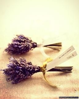Lavender used as escort cards