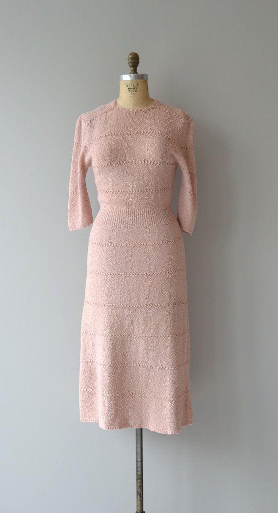 Ballet Pink boucle dress 1950s wool knit dress by DearGolden