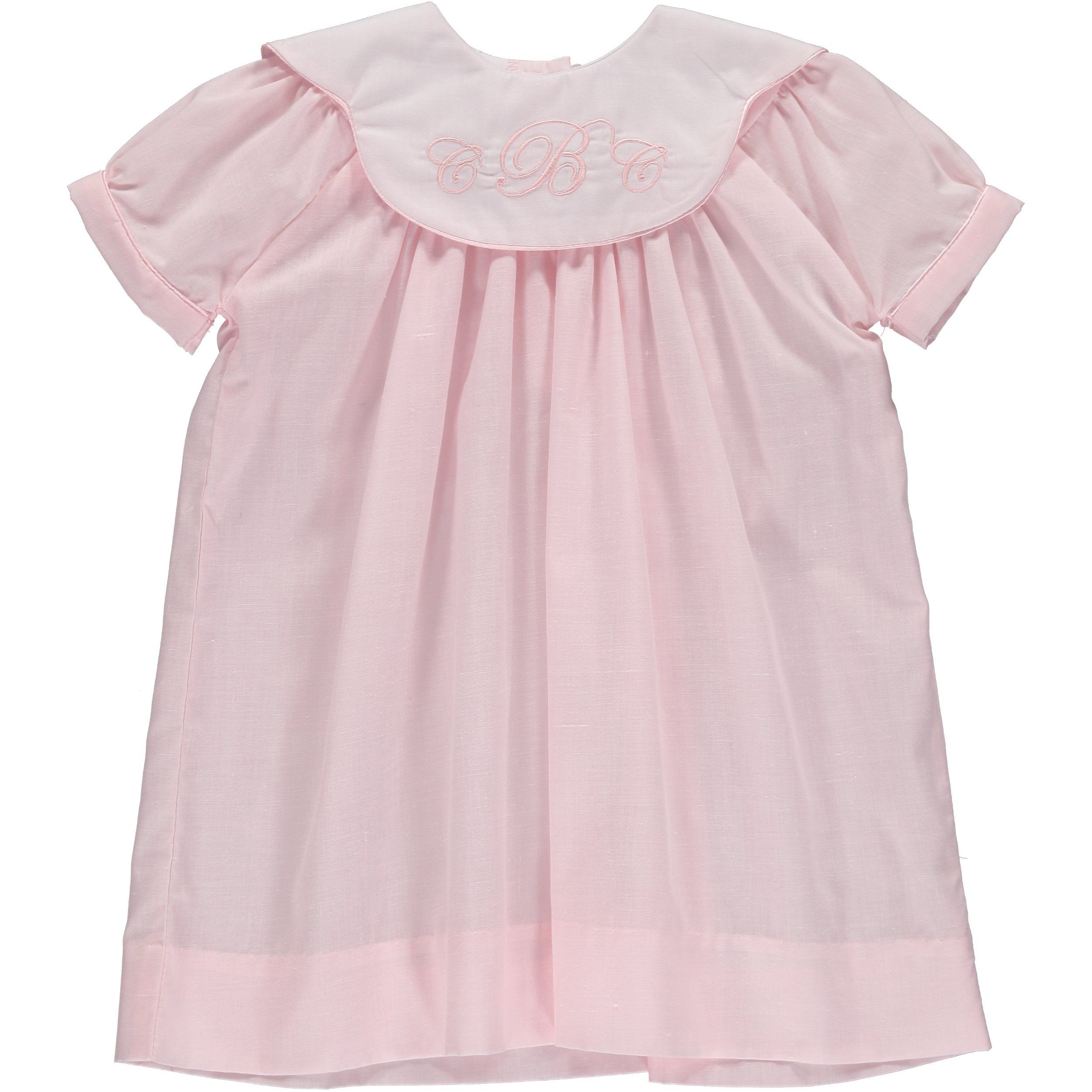 ee9ec9fd Carriage Boutique Baby Girl Classic Monogram Blank Bishop Dress Pink/White  Collar 6M * Click photo for even more information. (This is an affiliate  link).