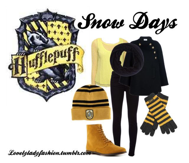 Hufflepuff Snow Days by sad-samantha on Polyvore featuring polyvore, мода, style, Forever 21, Emilio Pucci, J Brand, Qupid, Elope, Botto Giuseppe, fashion and clothing