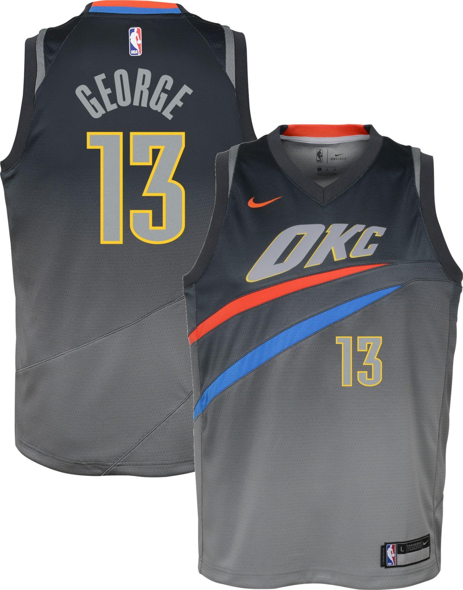 a4119d120c9 Nike Youth Oklahoma City Thunder Paul George Dri-FIT City Edition Swingman  Jersey, Size: Large, Multi