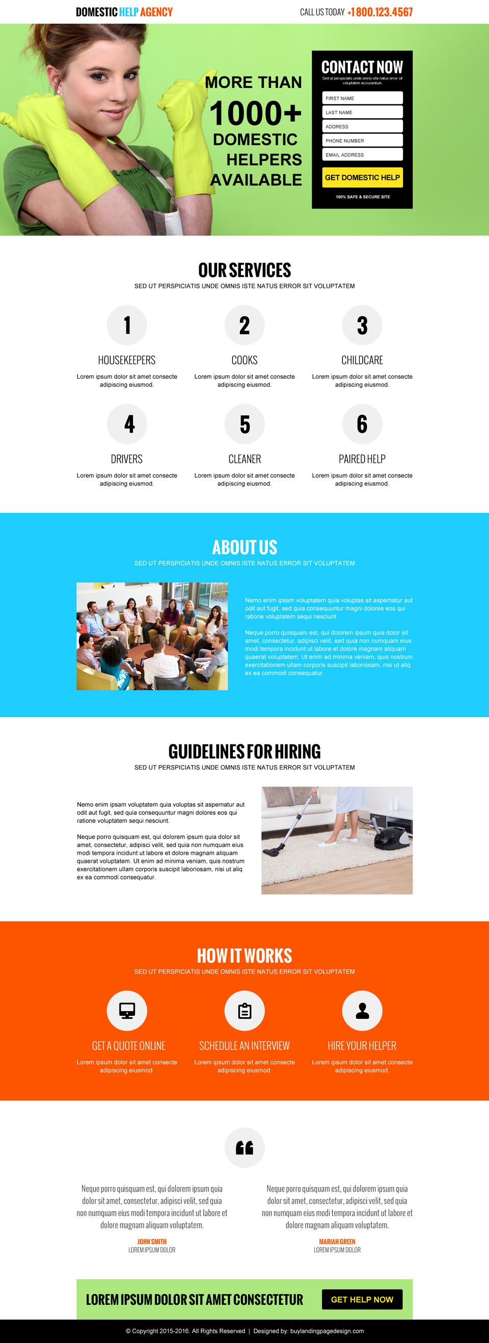 domestic help agency responsive lead capture landing page