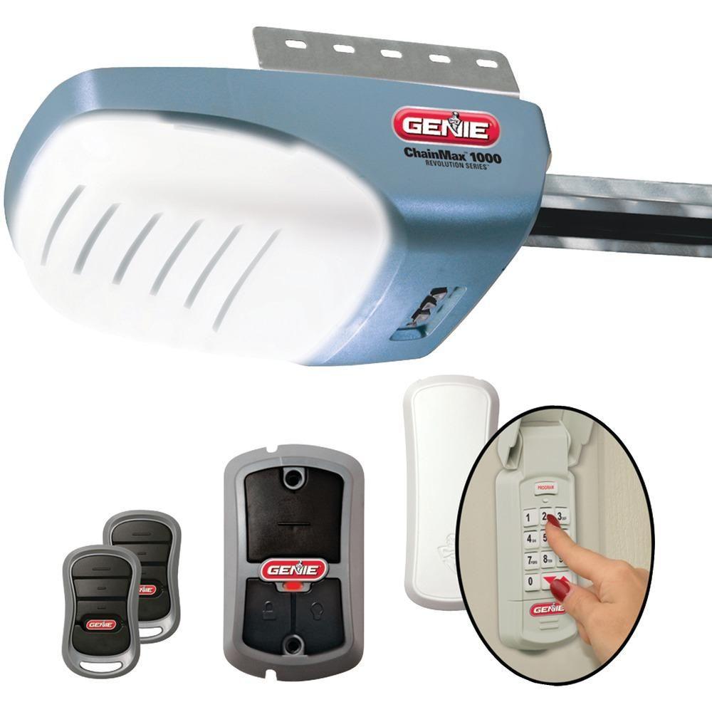 Genie Garage Door Opener With 3 And 4 Hpc Dc Chain Garage Doors Garage Door Opener Remote Garage Door Opener