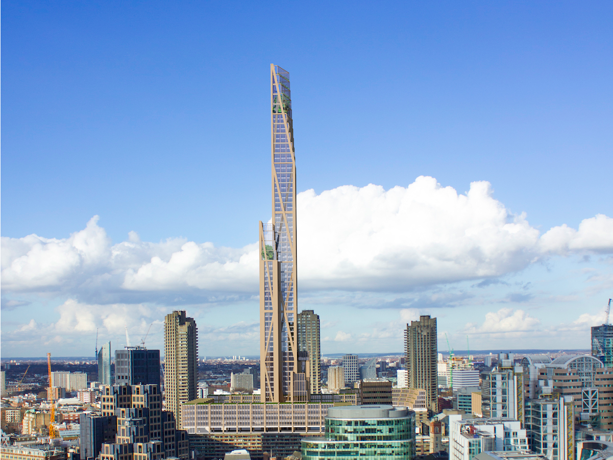 Oakwood Tower, London's 80-story wooden skyscraper project