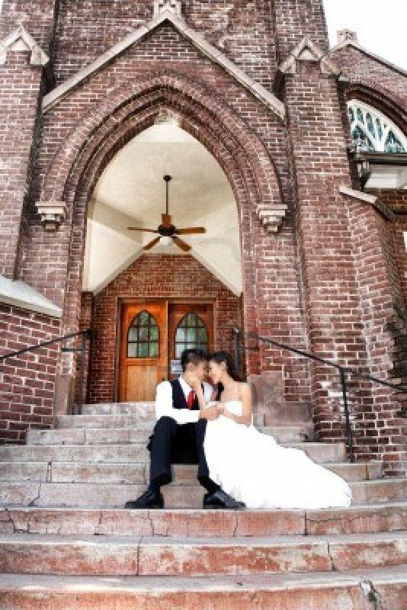 Wedding Asian American Couple Outdoors