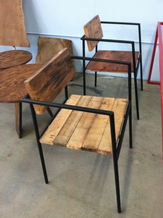 San Francisco Reclaimed Wood Chair And Steel Base 150