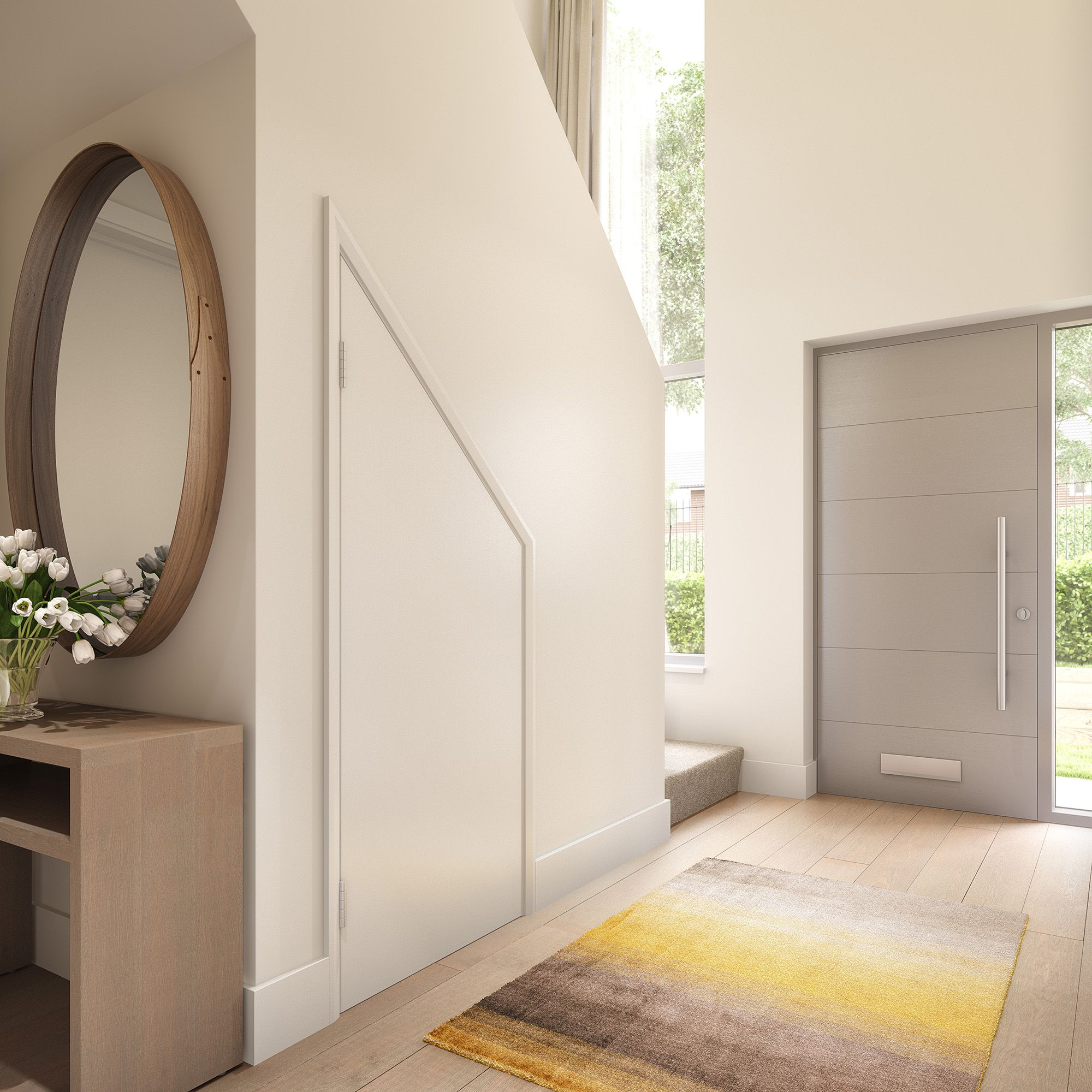 Hallway With Understairs Storage: CGI Of Boo Homes Hallway With Infilled Staircase