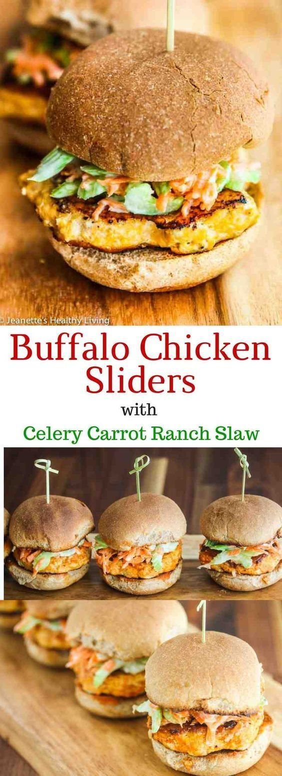 These Buffalo Chicken Burgers with Celery Carrot Ranch Slaw have all the flavors of the ever popular Buffalo chicken wing in slider form.