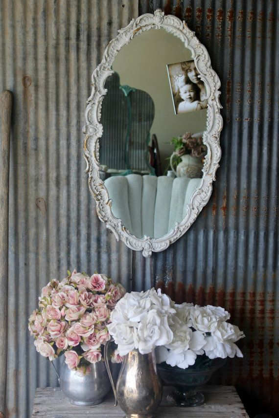 O V A L Scalloped Ornate Chippy White Mirror by smallVintageAffair