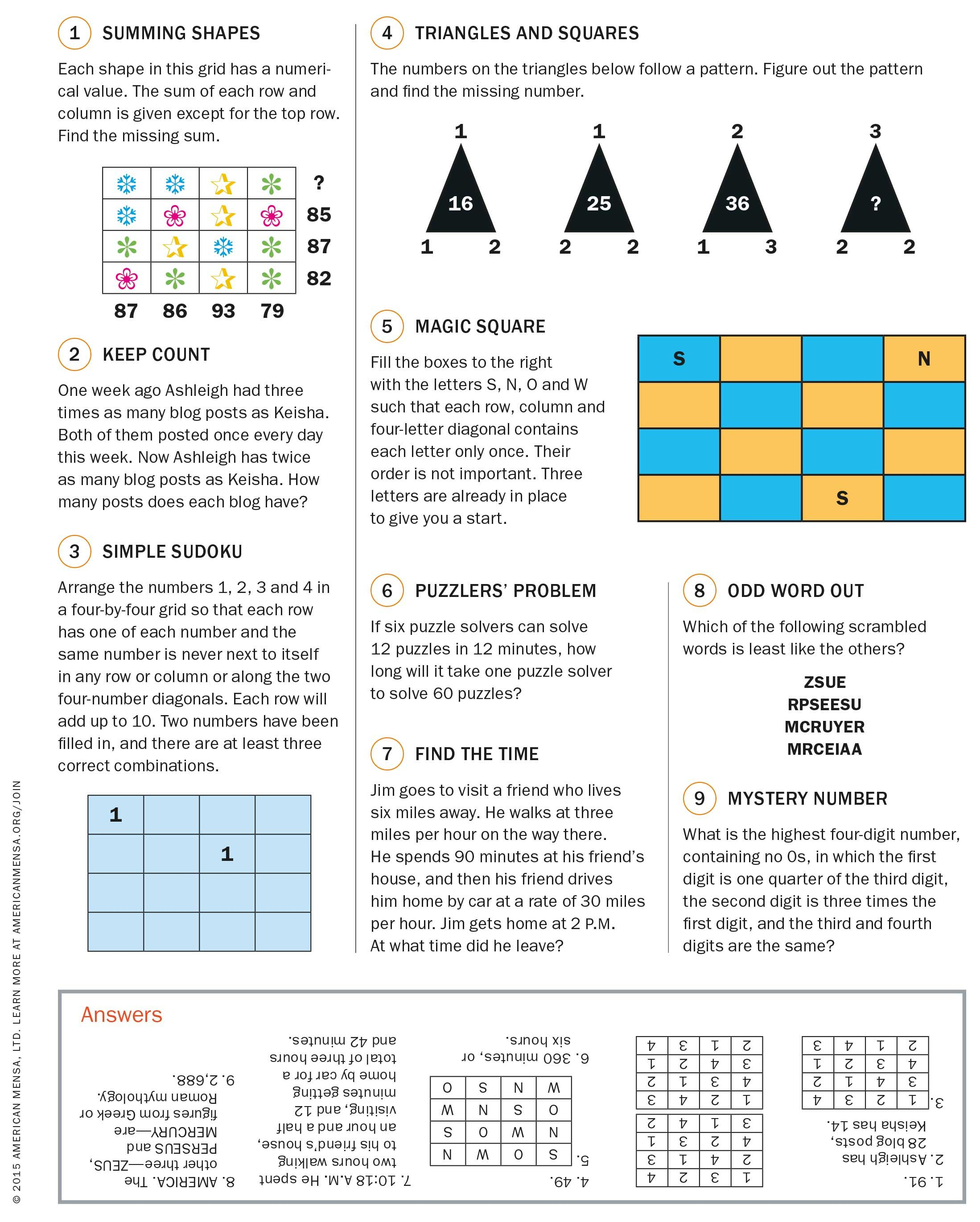 Can You Solve These Mensa Puzzles