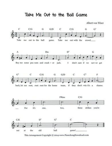 Take Me Out To The Ball Game Free Lead Sheet Lead Sheet Take Me Out Piano Sheet Music Free