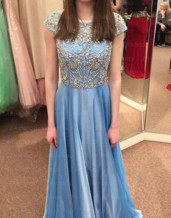blue beaded top cap sleeves chiffon long prom dress PD45670
