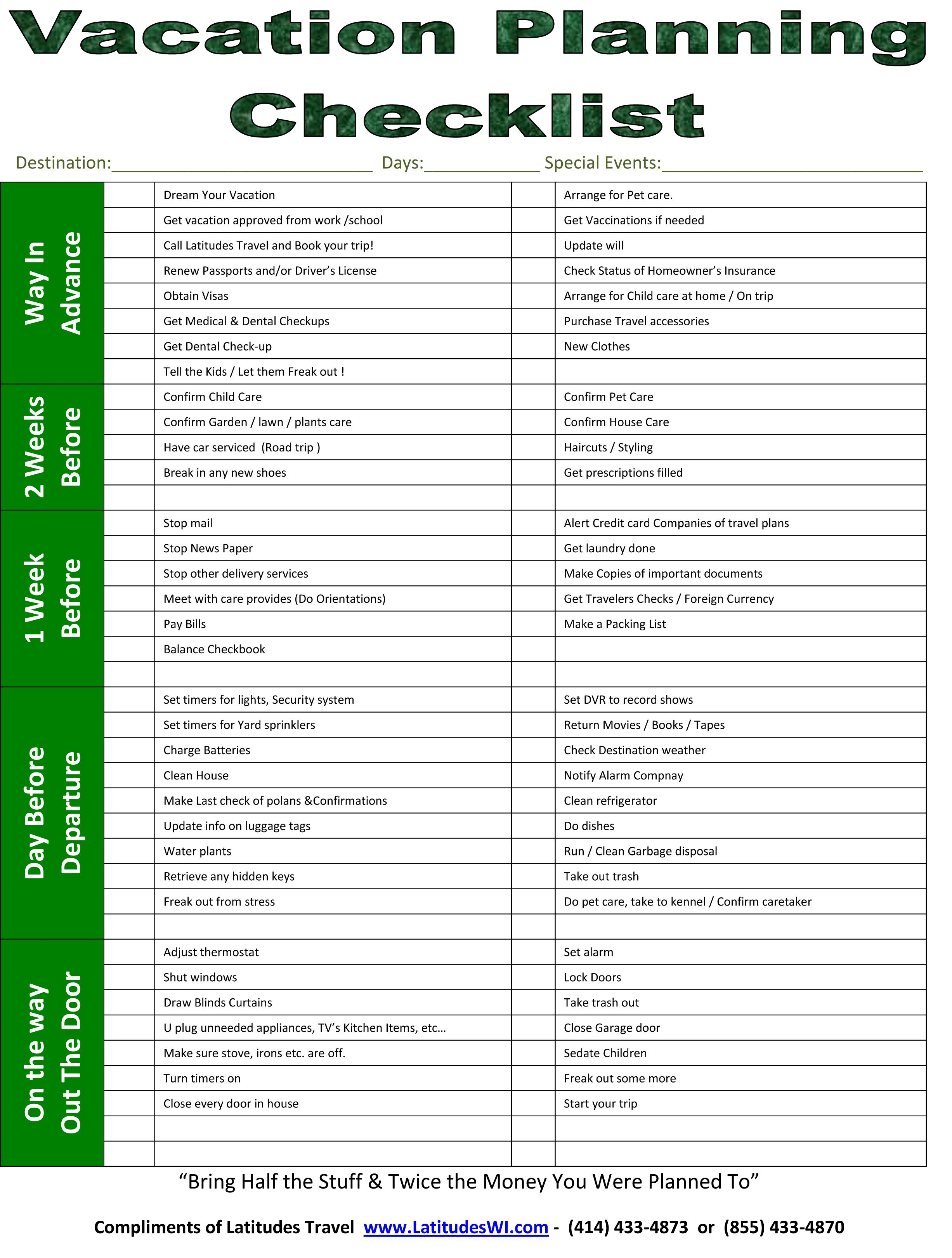 Vacation Amp Trip Planning Checklist To Help You Stay