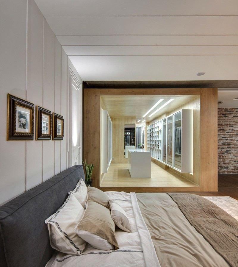 Modernes Schlafzimmer Und Ankleidezimmer Dazu