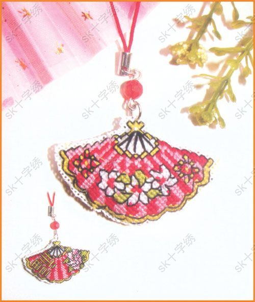 chinese fan cross stitching christmas ornaments cross on hole in the wall cap oriental id=12892