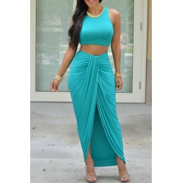 USD9.49Fashion Skirt Plain O Neck Sleeveless Green  Qmilch Two-piece Outfits