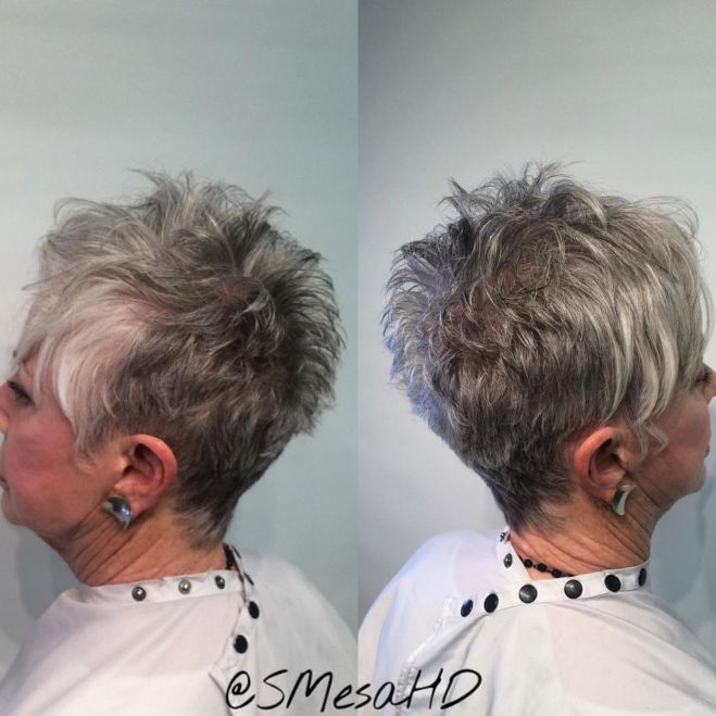 65 Gorgeous Gray Hair Styles Spiky Gray Pixie for