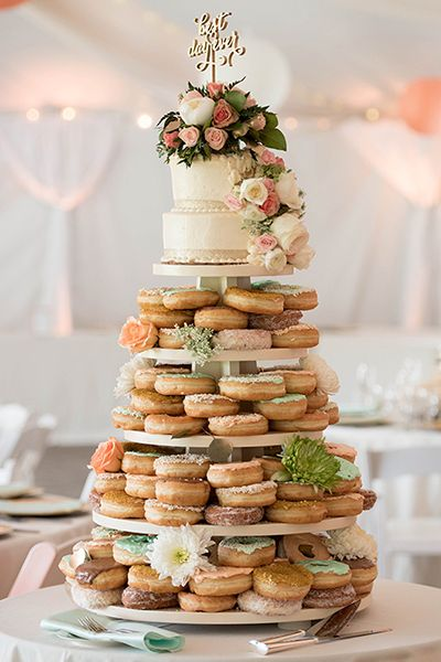 25 Doughnut Ideas Your Guests Will Go Nuts Over Wedding Donuts Doughnut Wedding Cake Wedding Desserts