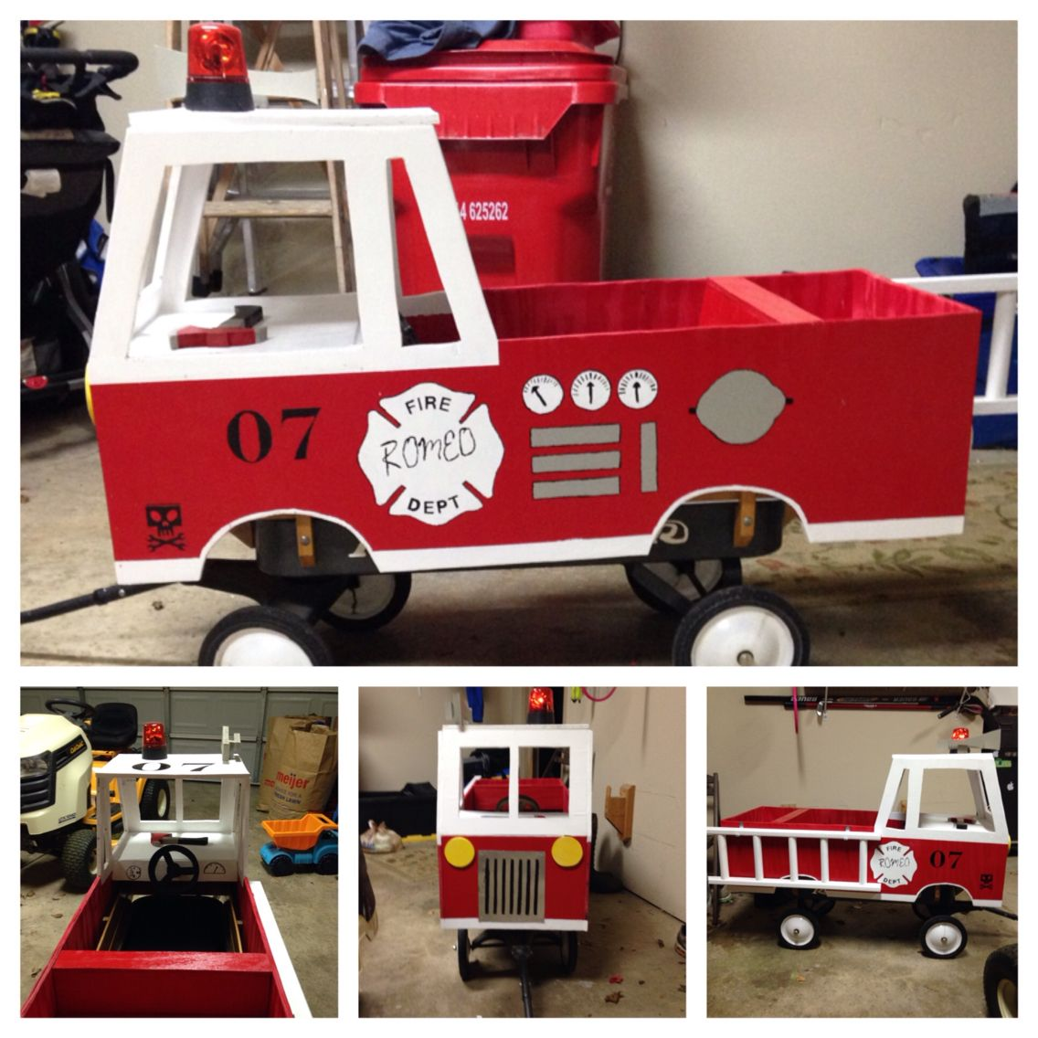 converted wagon into fire engine for halloween plywood shell goes over radio flyer - Kids Halloween Radio