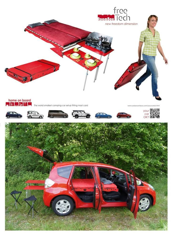 Pictured The Swiss Room Box That Sits In The Boot Of A Car And Folds Out To A Bed And Other Useful Tools See Ross Par Swiss Room Box Camping Kit